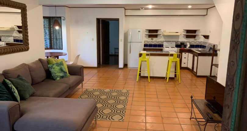F 784 Furnished apartment with common lush landscaping and pool near commercial area in San Rafael de Escazu