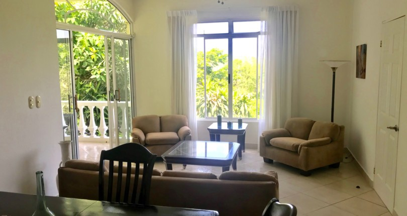 F 1542 Furnished apartment with a great views, secure, private garden and common area  pool in Alto de las Palomas Santa Ana