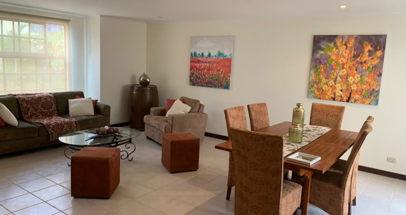 F 474 Furnished 4 bedroom condominium within walking distance. Commercial area, restaurants, pharmacies, cafes in San Rafael de Escazu